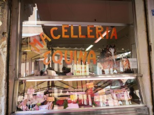 Lone butcher shop in Venice, Italy specializing in horse meat