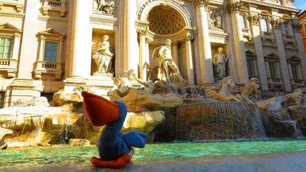 Melican at Trevi Fountain in Rome, Italy
