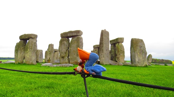 Melican the pelican posing with Geoffrey the giraffe at Stonehenge