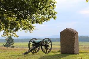 A 12-pound Napoleon cannon just east of Emmitsburg Road, along Cemetery Ridge, aimed towards the Confederate lines where Pickett's Charge occurred on the 3rd of July 1863.