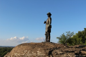 "Statue of Brigadier General Gouverneur K. Warren, touted as the ""Hero of Little Round Top"" atop Little Round Top in Gettysburg, PA"
