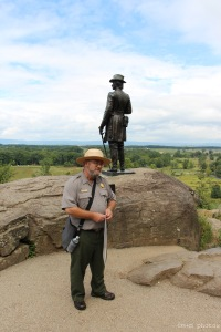 Park Ranger John Nicholas on Little Round Top.
