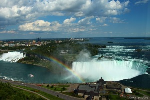 View of Niagara Falls with the ever present rainbow.