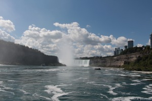 View of Horseshoe Falls from a Hornblower Cruise boat