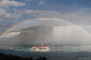 Rainbow over a Hornblower Cruise boat as viewed from Journey Behind the Falls