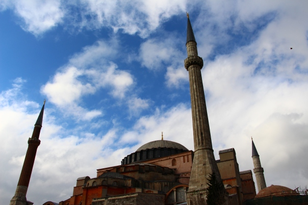 The Aya Sofya, framed by elusive blue skies during our visit, as seen from the Imperial Gate