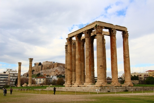 Temple of Olympian Zeus. The Acropolis can be seen in the background.