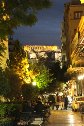 View of Acropolis at night from Plaka neighborhood