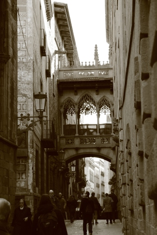 An alley by the Barcelona Cathedral