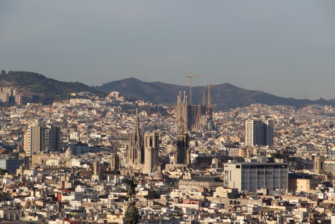 Barcelona as seen from a cable car going up to Montjuic from Barceloneta
