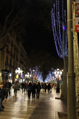 La Rambla at night