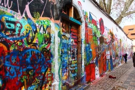 Lennon Wall, as in John Lennon, and not Lenin Wall, as in Vladimir Lenin.