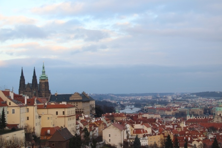 Prague Castle and city of Prague as seen from Strahov Monastery
