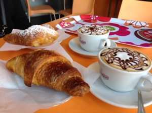 Cappuccino and brioche...typical Italian breakfast.