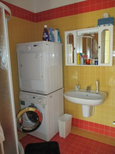 Italian washer and dryer in the bathroom of our Italian apartment...also note the lack of counter space in the bathroom.